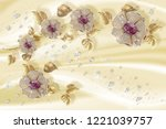 Stock photo  d wallpaper jewelry flowers on silk background flower theme this is a trend in design 1221039757