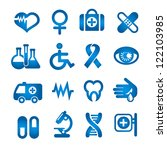 medical icons set  blue color ... | Shutterstock .eps vector #122103985