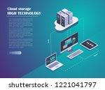 cloud hosting network isometric ... | Shutterstock .eps vector #1221041797