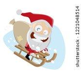 funny santa riding on sled   Shutterstock .eps vector #1221048514