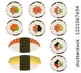 set of 10 slices sushi rolls... | Shutterstock .eps vector #1221067654