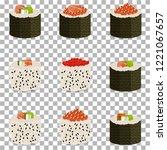 set of 9 slices sushi rolls on... | Shutterstock .eps vector #1221067657