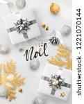 french text joyeux noel. merry... | Shutterstock .eps vector #1221070144