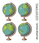 set of globes in retro style.... | Shutterstock .eps vector #1221072901