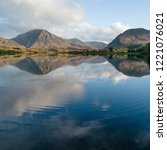ripples in calm still waters of ... | Shutterstock . vector #1221076021