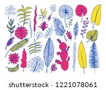 vector set of bright tropical... | Shutterstock .eps vector #1221078061