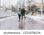 a stylishly dressed lovers... | Shutterstock . vector #1221078124