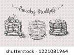 pancakes set illustration... | Shutterstock .eps vector #1221081964