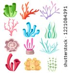 collection of colorful corals... | Shutterstock .eps vector #1221084391