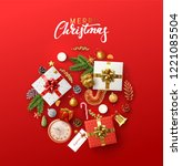 christmas greeting card with... | Shutterstock .eps vector #1221085504