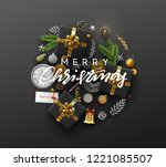 christmas greeting card with... | Shutterstock .eps vector #1221085507