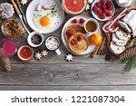 christmas brunch or breakfast... | Shutterstock . vector #1221087304