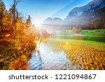 hintersee   amazing alpine lake ... | Shutterstock . vector #1221094867