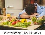 people  tiredness and overwork... | Shutterstock . vector #1221123571