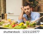 people  tiredness and overwork... | Shutterstock . vector #1221123577
