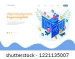isometric programmer coding new ... | Shutterstock .eps vector #1221135007