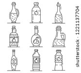 vinegar icon set. outline set... | Shutterstock .eps vector #1221137704