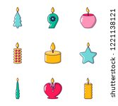 aroma candle icons set. cartoon ... | Shutterstock .eps vector #1221138121