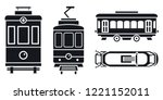 Electric passenger trolley car icon set. Simple set of electric passenger trolley car vector icons for web design on white background