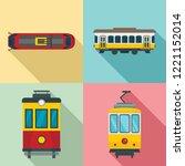 tram icon set. flat set of tram ... | Shutterstock .eps vector #1221152014