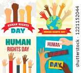 rights day banner set. flat... | Shutterstock .eps vector #1221152044
