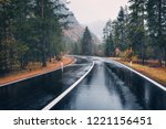 road in the autumn forest in... | Shutterstock . vector #1221156451
