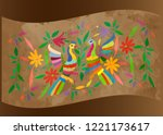 ethnic mexican tapestry with... | Shutterstock .eps vector #1221173617