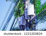 micro cellular 3g  4g  5g. base ... | Shutterstock . vector #1221203824