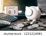white piggy bank and coin with... | Shutterstock . vector #1221214081