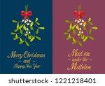 christmas mistletoe poster.... | Shutterstock .eps vector #1221218401
