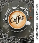 coffee poster ads with 3d... | Shutterstock .eps vector #1221242221