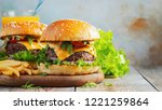Two Fresh Homemade Burgers Wit...