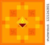 diwali greeting  festival of... | Shutterstock .eps vector #1221262831