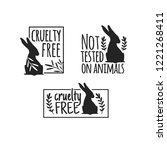 set animal logo cruelty free.... | Shutterstock .eps vector #1221268411