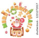 vector santa claus on sleigh... | Shutterstock .eps vector #1221272017