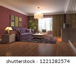 interior of the living room. 3d ... | Shutterstock . vector #1221282574