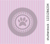 paw icon inside pink emblem.... | Shutterstock .eps vector #1221286234