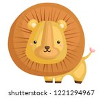 a cute and adorable lion... | Shutterstock .eps vector #1221294967