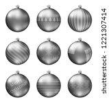 pastel black christmas balls... | Shutterstock .eps vector #1221307414