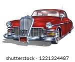 retro car isolated on white... | Shutterstock .eps vector #1221324487