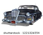 retro car isolated on white... | Shutterstock .eps vector #1221326554