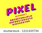 pixel font  3d retro video game ... | Shutterstock .eps vector #1221335734
