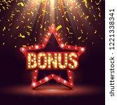 bonus banner illuminated by... | Shutterstock .eps vector #1221338341