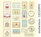 set of christmas post stamps on ... | Shutterstock .eps vector #122133991
