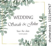 wedding invitation with leaves... | Shutterstock .eps vector #1221344767