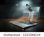 caucassian baseball player in...   Shutterstock . vector #1221346114