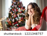 teen girl in the room decorated ... | Shutterstock . vector #1221348757