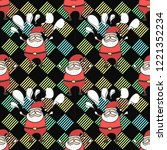 santa claus  seamless pattern...   Shutterstock .eps vector #1221352234