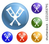 wood crutches icons set vector...   Shutterstock .eps vector #1221353791