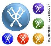 crutches icons set vector 6...   Shutterstock .eps vector #1221353797